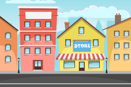 Cartoon image of store and buildings in front of road