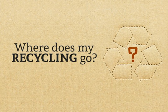 "A cardboard background has a simple recycling logo punched into it with a question mark in the center, and the words ""Where does my recycling go?"" are on the cardboard"