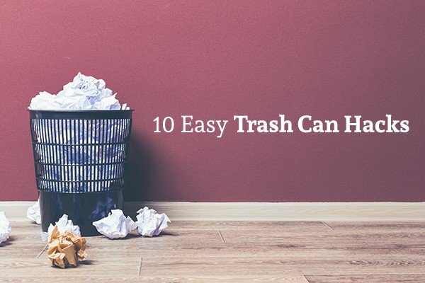 "A trash can full of paper with more paper surrounding it sits on a wood floor beside the words ""10 Easy Trash Can Hacks"""