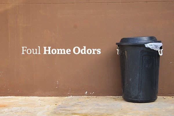 "A dirty outdoor trash can sits beside an old building with the words ""Foul Home Odors"""