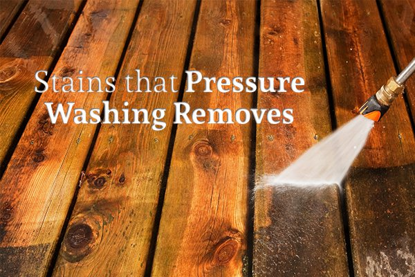 "A wooden deck with grime being pressure washed off it beside the words ""Stains that Pressure Washing Removes"""