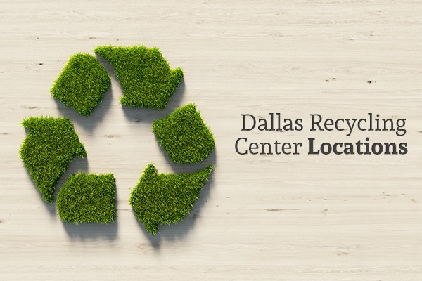 "A recycling symbol made of plants against a wood background with the words ""Dallas Recycling Center Locations"""
