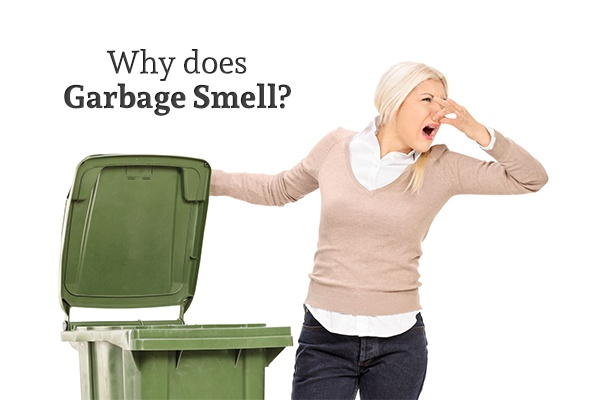 A woman holding the lid of her outdoor trash can open and looking away while holding her nose with a disgusted look on her face below the words why does garbage smell